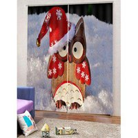 2PCS Christmas Woodpecker Printed Window Curtains