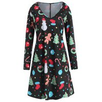 Plus Size Long Sleeves Graphic Christmas Dress