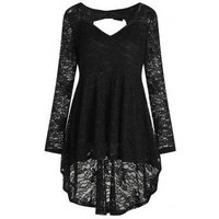 Plus Size Back Heart Cut Out Bowtie Long Sleeves Lace High Low Blouse