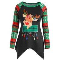 Plus Size Asymmetric Christmas Elk Long Sleeves Tee