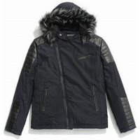 Faux Fur Hoodie Zipper Patchwork Parka Coat