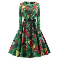 Plus Size Christmas Vintage Long Sleeves Printed Dress