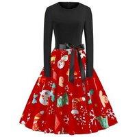 Plus Size Long Sleeves Christmas Vintage Printed Dress