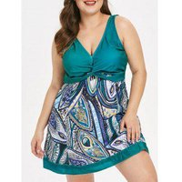 Criss Cross Plus Size Printed Tankini Set