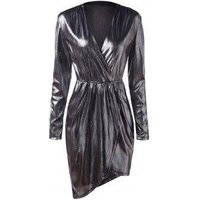 Plunging Neck Long Sleeves Metallic Party Dress