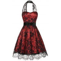 Plus Size Halter Lace Insert Backless Party Dress