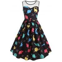 Cartoon Dinosaur Print Vintage Dress