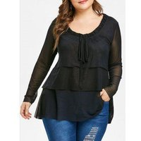 Plus Size Bow Tie Layered Blouse