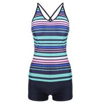 Colorful Striped Criss Cross Tankini Set