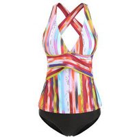 Contrast Striped Overlap Tankini Set