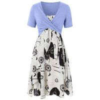 Plus Size Floral Print Layered Cami Dress With Criss Cross Crop Top
