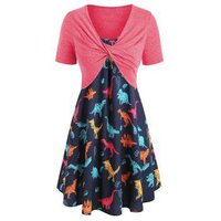 Plus Size Dinosaur Print Ruffled Dress With Twist Top