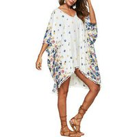 Floral Pom Pom Poncho Cover Up