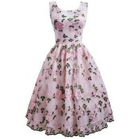 Flower Embroidered Sleeveless Party Dress