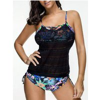 Criss Cross Floral Print Cinched Tankini Set
