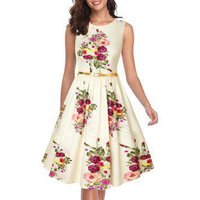 Floral Sleeveless Belted Party Dress