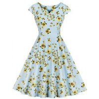 A Line Cap Sleeve Floral Vintage Dress