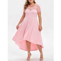 Plus Size Lace Insert High Low Party Dress