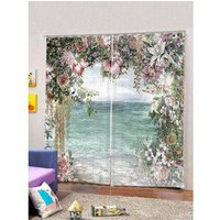 2 Panels Lakeside Flowers Print Window Curtains