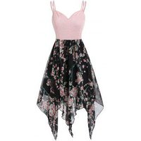 Asymmetric Floral Handkerchief Midi Cami Dress