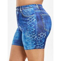 3d Jeans Print Plus Size Mini Leggings