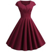 Sweetheart Neck Vintage Rockabilly Style Fit and Flare Dress