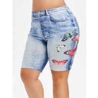 3d Butterfly Jean Print Plus Size Shorts