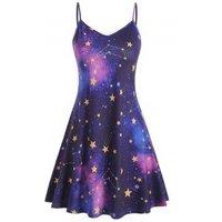 Galaxy Print Plus Size Trapeze Dress