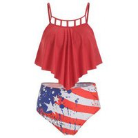 Cut Out American Flag Overlay Tankini Swimsuit