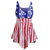American Flag Contrast Lattice Plus Size Tankini Swimsuit