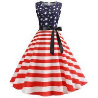 American Flag Belted Vintage A Line Dress