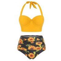 Sunflower Print Ruched Halter Bikini Swimsuit