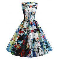 Abstract Print Sleeveless Party Dress