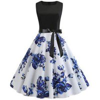 A Line Flower Print Belted Retro Dress