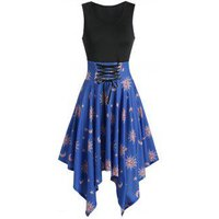 Asymmetric Moon And Sun Lace-up Handkerchief Dress