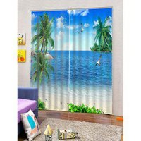 2PCS Beach Seagulls Pattern Window Curtains