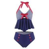 Bowknot Striped Halter Vintage Tankini Swimsuit