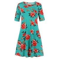 A Line Floral Tee Dress