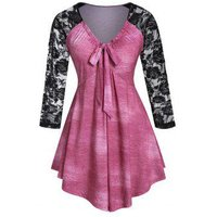 Plus Size Lace Sleeve Bow Tie Empire Waist Tee