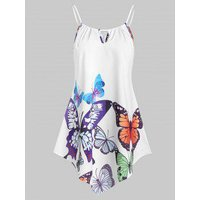 Asymmetrical Butterfly Print Keyhole Cami Top