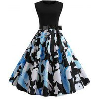 Flower Print Belted Sleeveless Party Dress