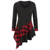 Asymmetrical Plaid Tunic T-shirt