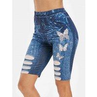 3d Denim Butterfly Print Skinny Biker Shorts