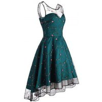 Floral Embroidered Lace Overlay High Low Party Dress