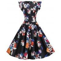 A Line Ruffle Baroque Floral Print Dress