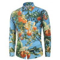 3D Tangerine Print Long Sleeves Shirt