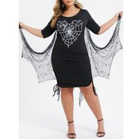 Plus Size Spider Web Print Gothic Dress With Bat Wing