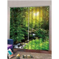2 Panels Sunlit Forest Stream Print Window Curtains