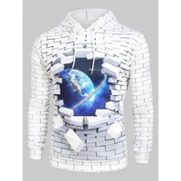 3D Broken Brick Globe Earth Space Graphic Front Pocket Hoodie