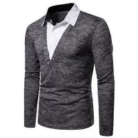 2 in 1 Shirt Collar Long Sleeve Knitwear
